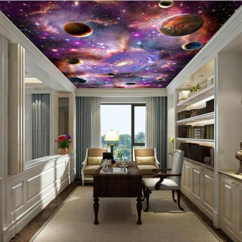 Techo Galaxy 3D Gran dormitorio mural del papel pintado del papel pintado de la sala Pintura contexto de la TV 3D Fondos para las paredes del papel pintado en el escritorio # W 1GRg