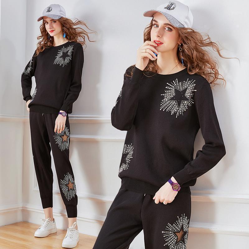 2020 novas mulheres duas peças conjunto elegante diamantes pulôver com calças mulheres conjunto de algodão completo de malha cintura elástica sólida inverno1