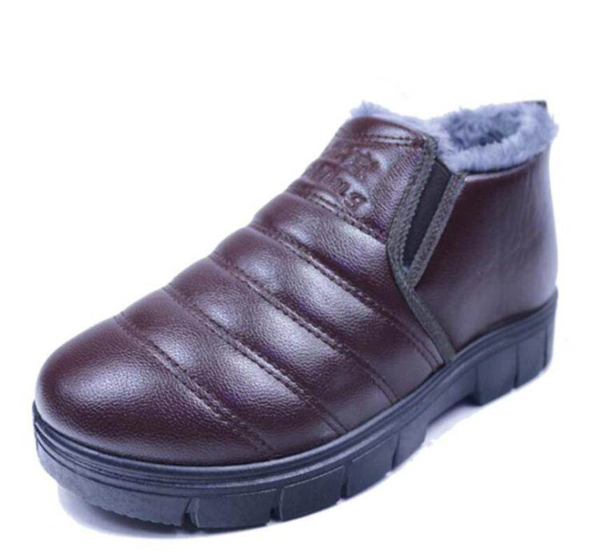 Yeni Sıcak Satış Kış Pamuklu erkek ayakkabı Artı Kadife Kalın Deri Ayakkabı Su geçirmez Sıcak Pamuk Boots Erkek Kalın tabana vurma