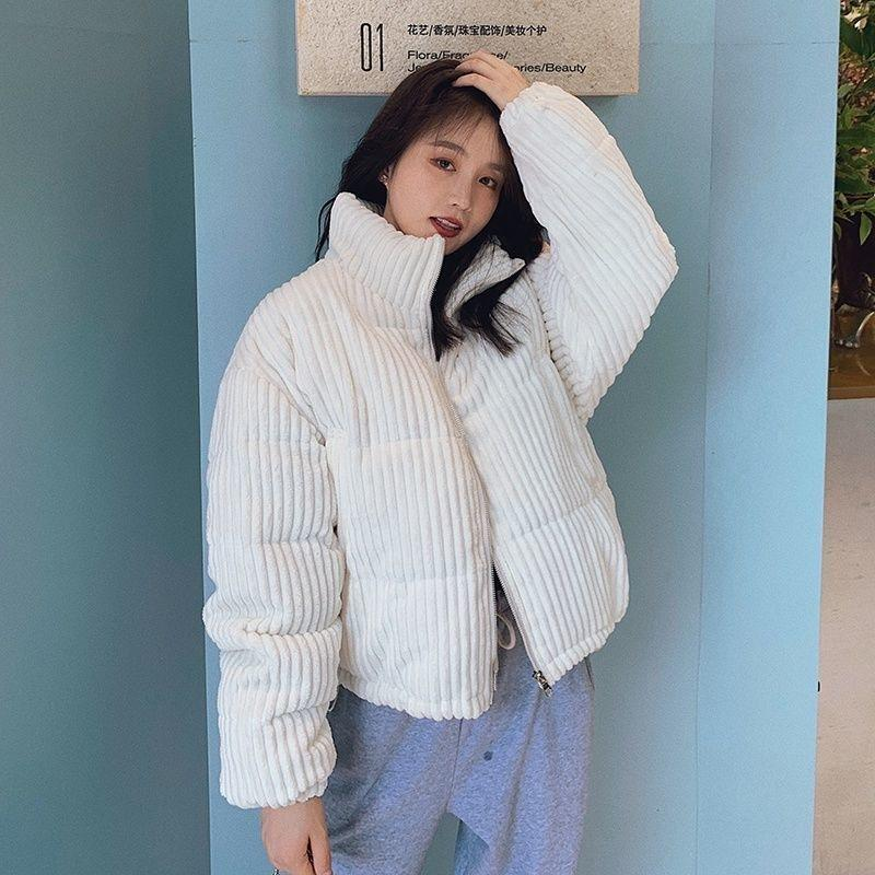 Korean Style Winter Corduroy short Jacket for women Black Loose coats casual bread warm girl oversize coat thick parkas 210203