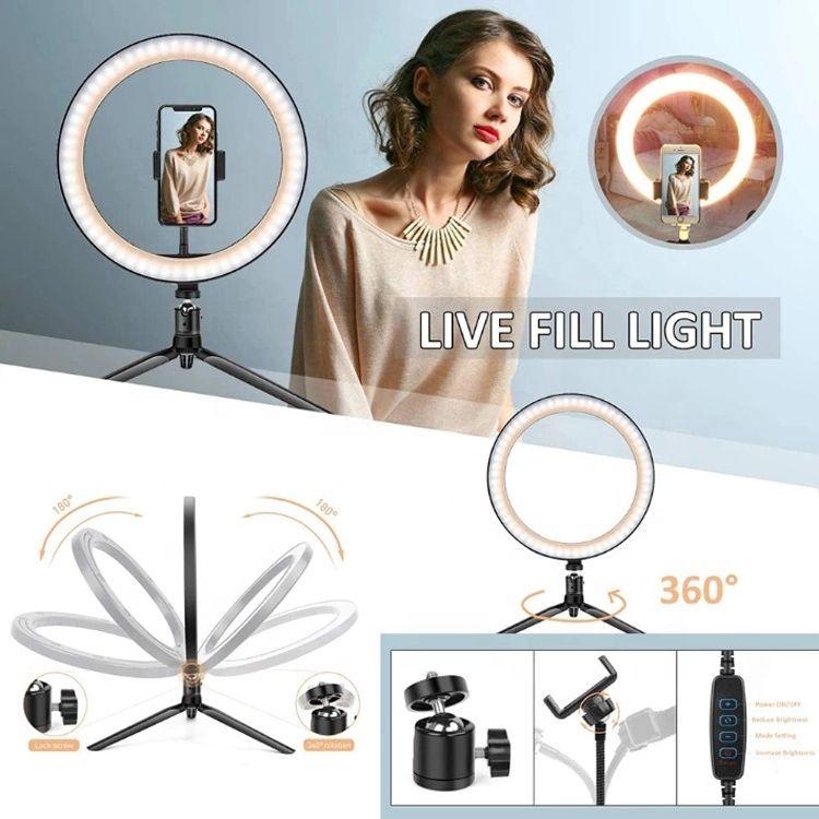 2021 lighting Cell Phone Photograph Accessories Tripod Bracket Desktop Dimmable 10 Inch Live Fill Lights LED Makeup Light Selfie Ring
