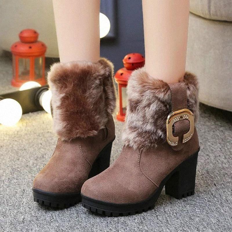 2021 mujeres botas de tobillo invierno piel cálida tacones altos boots de martin corto moda plata plataforma cuadrada mujer zapatos de nieve botines # ll32