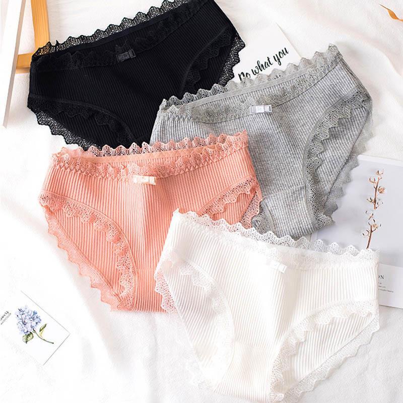 Женское хлопок кружевное нижнее белье бесшовные милые девушки бантики белье мода женские сексуальные трусики