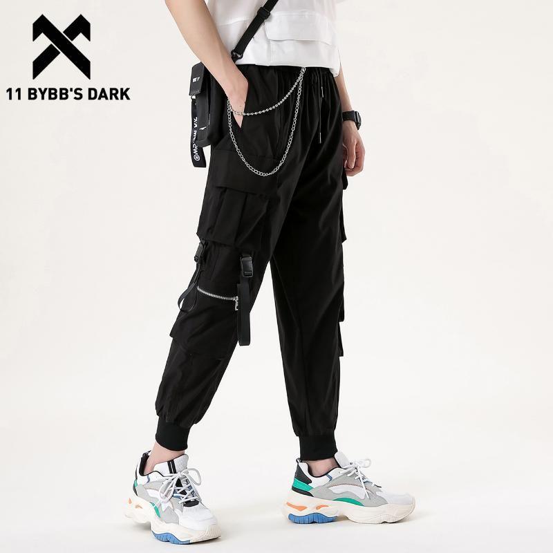 11 poches multi-poches sombres de BYBB HIP HOP Cargo Pantalons hommes Harajuku Streetwear Pantalon de survêtement Joggers Taille élastique Pantalon Harem Pants