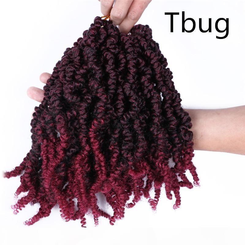 봄 트위스트 10 인치 합성 Chachet 헤어 익스텐션 70g PC Pre Stretched Ombre Crochet Braids 털이 열정 꼬인 머리카락