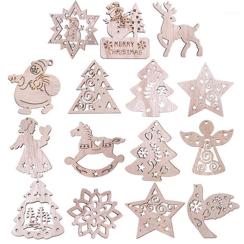 5шт рождественские деревянные подвески деревянные санта-Клауса снежинка рождественская елка висит декор Новый год рождественские украшения Navidad Gifts1