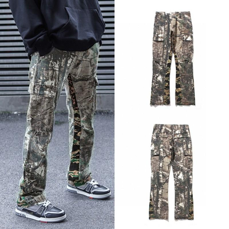 Coppie Nuovo Camouflage rappezzatura Pantaloni Uomo Donna Jeans a gamba larga High Street Hip-hop Loose Fit Jeans
