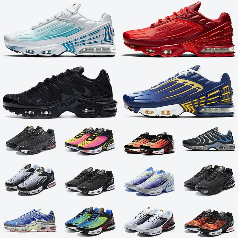 2021 Yeni Gelenler TN Artı 3 III döndü Bayan Erkek Koşu Ayakkabıları TN 3 Tuned Derin Kraliyet Siyah Gri Lazer Mavi Eğitmenler Sneakers