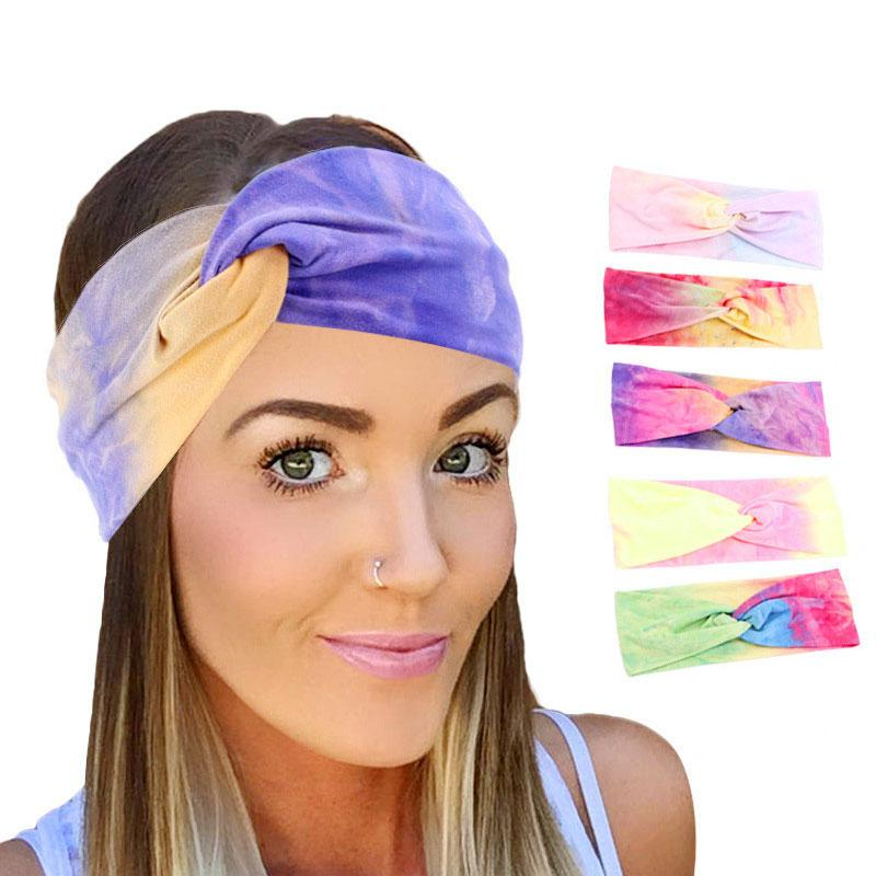Крест Широких оголовья женщин Красочных Twist Bands Hairband Tie-Dye Headwrap Упругих волос Soft Спорт Йога Тюрбан Аксессуары для волос
