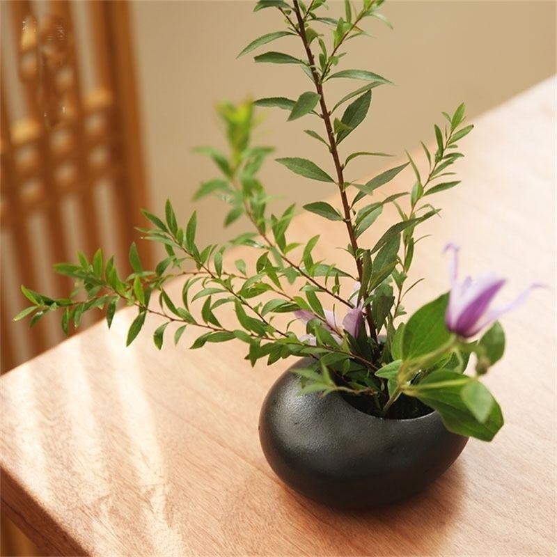 Keramik Kleine Wassertropfen Blumentopf Vase Gerät Zen Teetisch Tischtop Japanische Ikebana Blumenarrangement Keramik Werkzeuge LJ201209