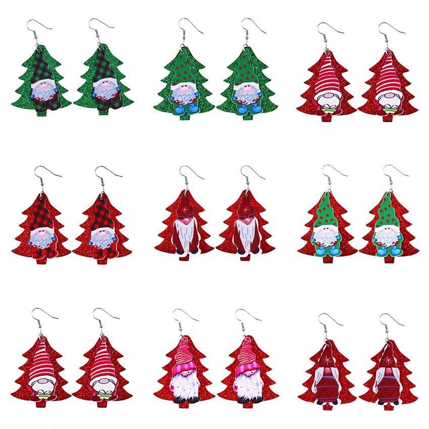 Mode Père Noël Double couche en cuir Boucles d'oreilles Dangle Paillettes d'arbres de Noël PU cuir boucle d'oreille Creative femmes fête Party Bijoux