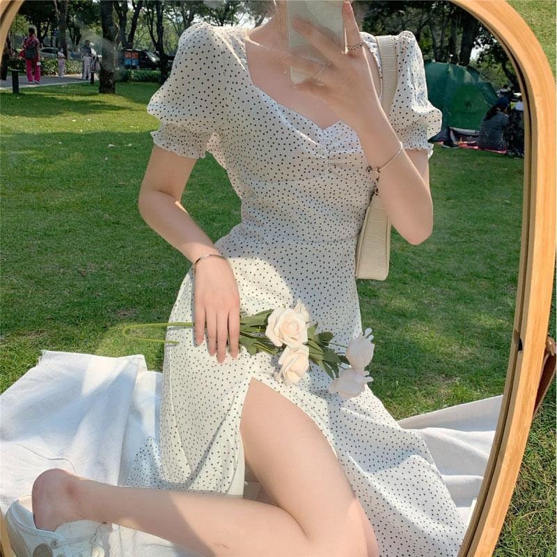 Robe en mousseline en mousseline française femmes bouffée de manches imprimée vintage rétro robe bureau dame occasionnel été élégant fendu femmes 2020