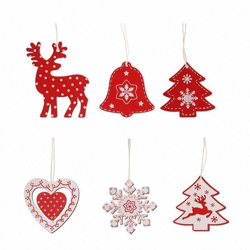 10 / 100pcs de madera del arte de DIY el árbol de navidad adornos de Año Nuevo de la decoración para el hogar # 7540