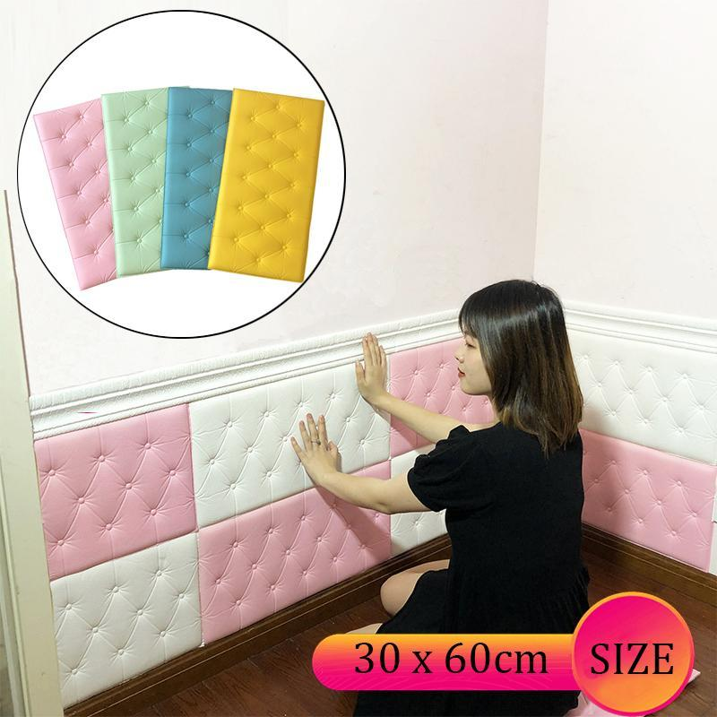 3D ملصقات الحائط خلفية ذاتية اللصق ثخن حصير المضادة للتصادم ستريت حصيرة وسادة للأطفال لغرف النوم غرفة المعيشة رغوة لينة وسادة