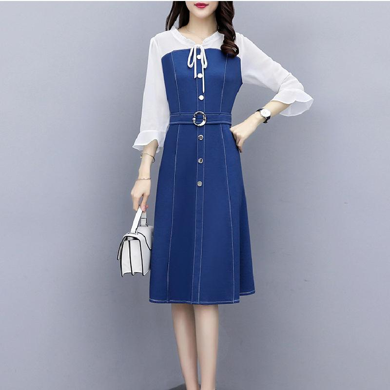 2020 лето нового стиля немного жира платья платья женщин платье большого размер тонкий тонкий тонкий мода джинсы сплайсинг в сокращении длинной юбки возраста