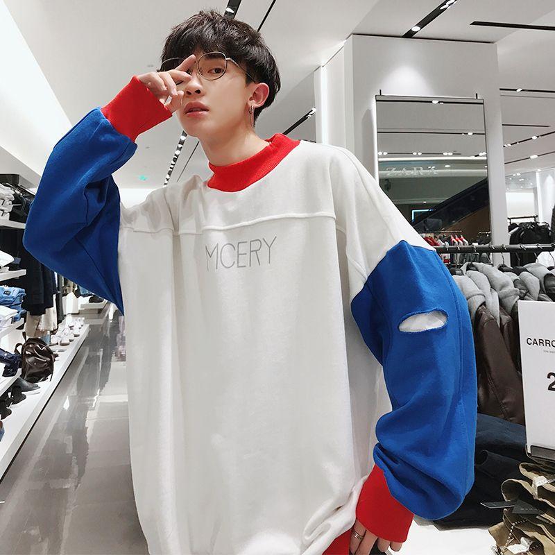 2019 Erkekler Harf Baskı Kapüşonlular Renk Coats Erkek Delik Kazak Tide Pamuk Casual Giyim Yüksek kaliteli Tişörtü M- Hit
