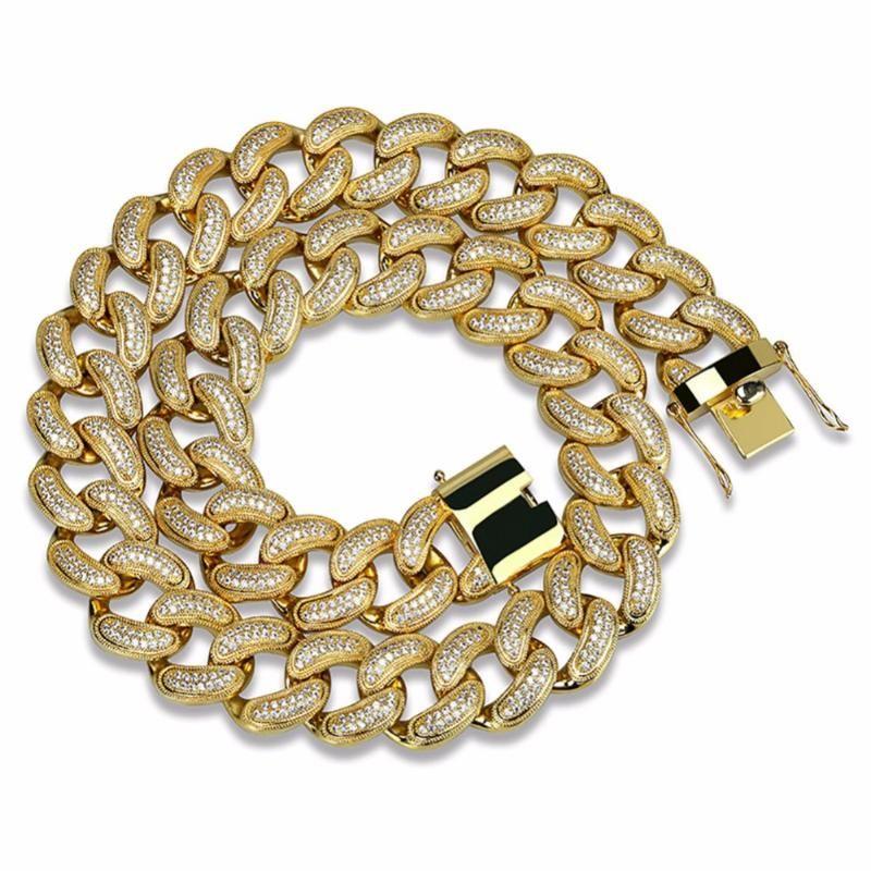 28mm Широкий Большой Тяжелый Майами кубинский цепи ожерелье для мужчин Hip Hop Рэпер Bling Iced Out Micro Pave CZ золотое ожерелье ювелирных изделий