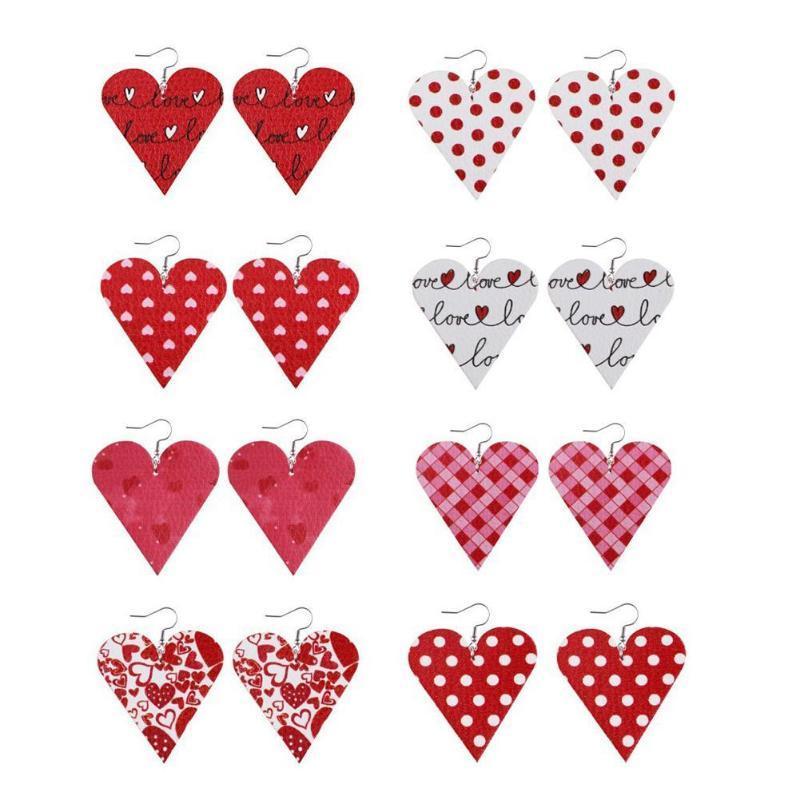 8 pares del día de San Valentín Día de agua Droll Dright Pendientes para las mujeres Faux Cuero Teardrop / Hoja / Heart Ondrop Dangle Hook Pendientes Regalo