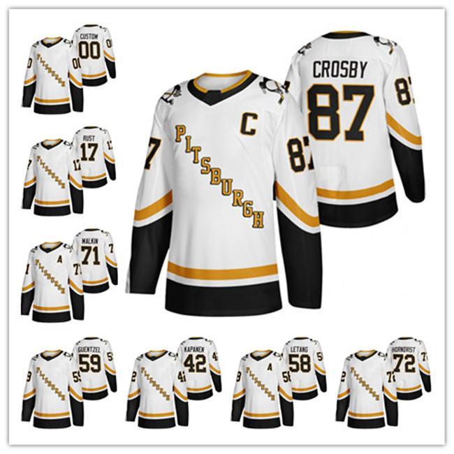 사용자 정의 2020-21 Reverse Retro 넷째 피츠버그 펭귄 Sidney Crosby Kris Letang Jason 주커 Evgeni Malkin Patric Hornqvist Hockey Jersey