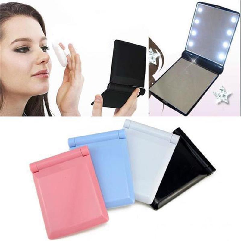 Зеркало для макияжа 8 Светодиодные лампы Лампы Cosmetic Складной Портативный компактный карманный Ручное зеркало Макияж под фары с Bettery LED легкий макияж ми