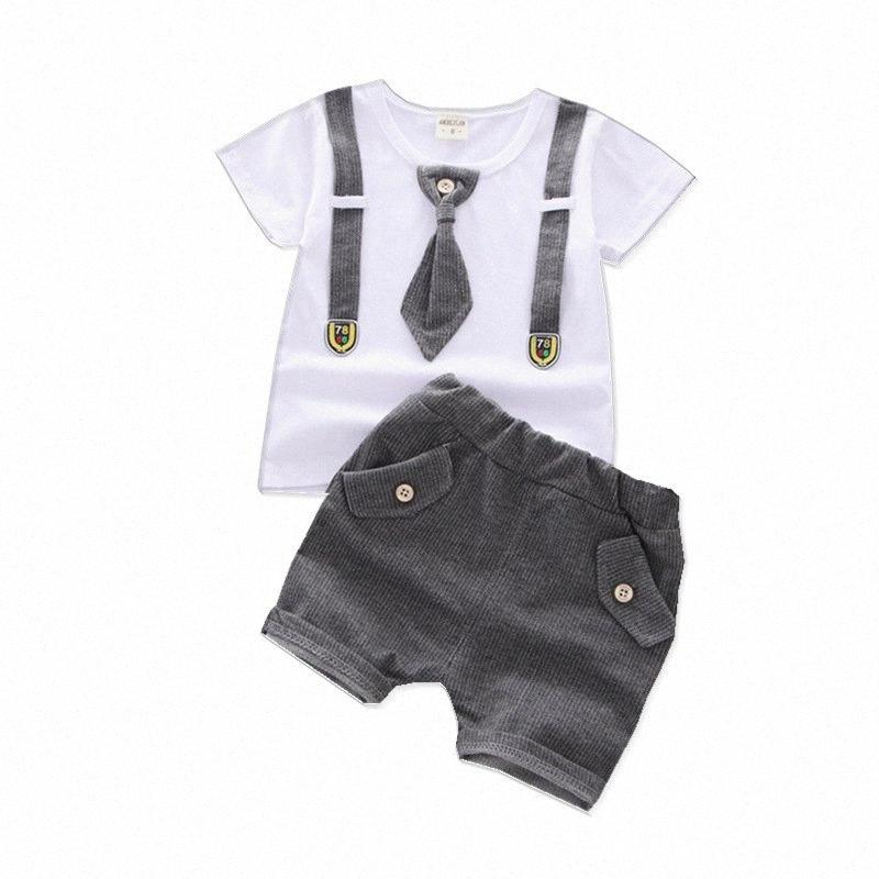 Summer Children Boys Girls Cotton Ropa Sets Kids Fashion T-shirt Shorts 2pcs / sets Ropa casual Baby Cool Tie Titsuits 26QG #