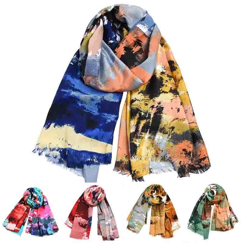 Women Cotton Linen Soft Hijab Scarf Long Shawl Wrap Graffiti Printed Abstract Scarf Bohemian Bufanda Winter Accessories Bandana