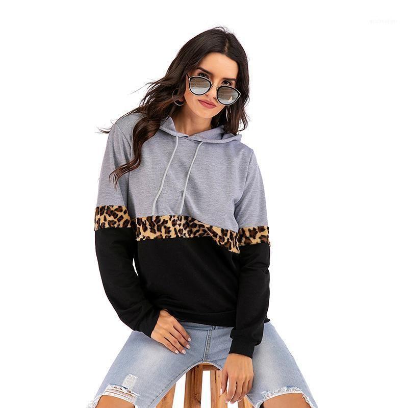 Sudaderas con capucha para mujer Sudaderas Otoño Invierno Patchwork con capucha con capucha para mujeres Leopardo Pullover Sport Style Swoathirts1