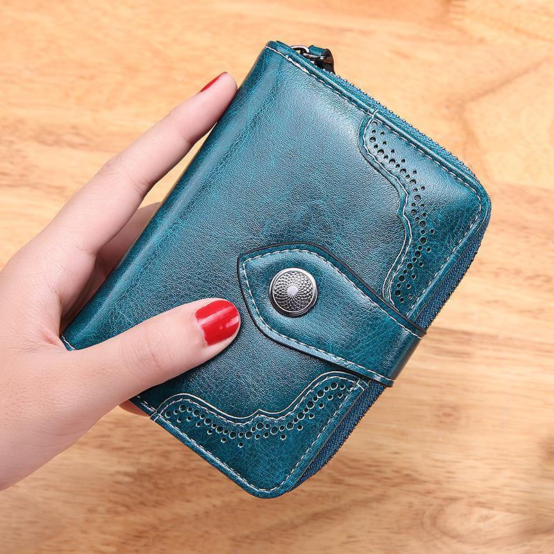 Frauen Brieftasche Ölwachs Leder Hohe Qualität HASP Reißverschluss Geldbörse Kupplungsmünze Kartenhalter Brieftasche Portfel Damski