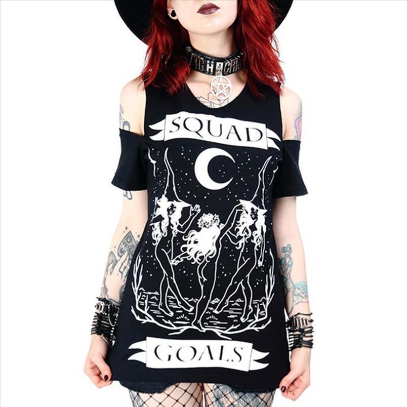 Damen Bluse Gothic Punk Moon drucken Schulterfrei Kurzarm Bluse Damen Hexe Party Dunkle Tops Hemden Mädchen Bluse G8
