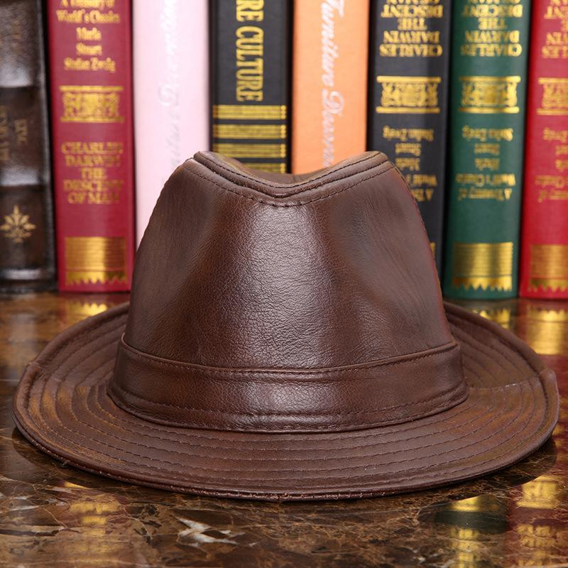 Ampia pelle tesa Maschio 100% vera pelle cappello di jazz per adulti Fedoras cappello maschile Montone Fedoras Cap Uomo Cowboy B-7284