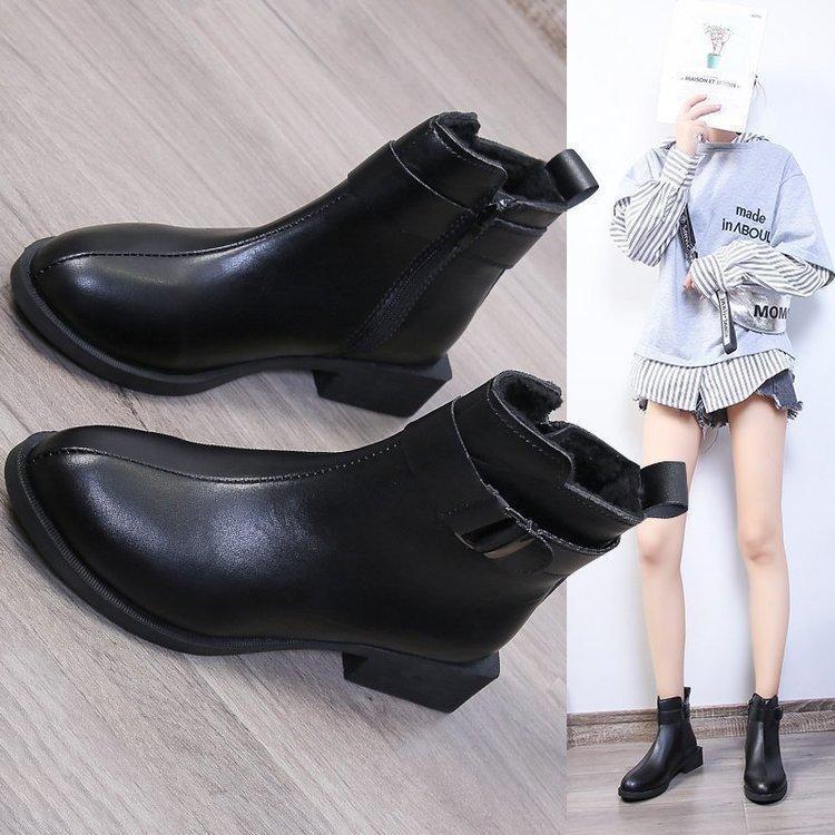 HQ012 Botas Mulheres 2021 Novo Estilo Coreano Baixo Cinto Cinto De Costura De Costura De Costura Do Zíper Ankle Boots