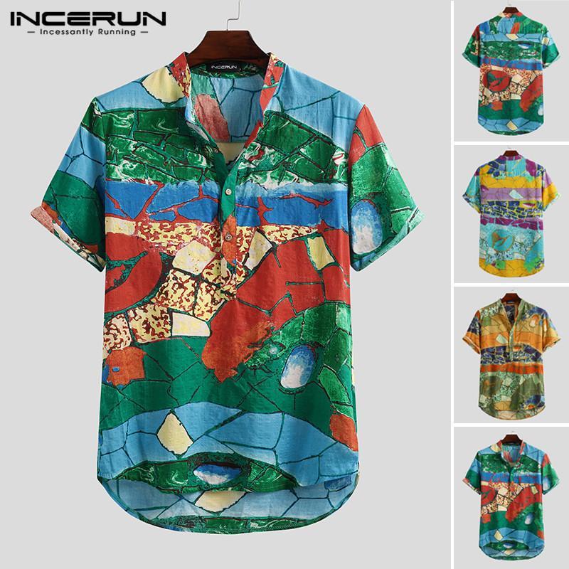 Incerun verano hombres casual camisa hawaiana impresión transpirable manga corta botón 2020 playa calle algodón marca jerseys camisa y0104
