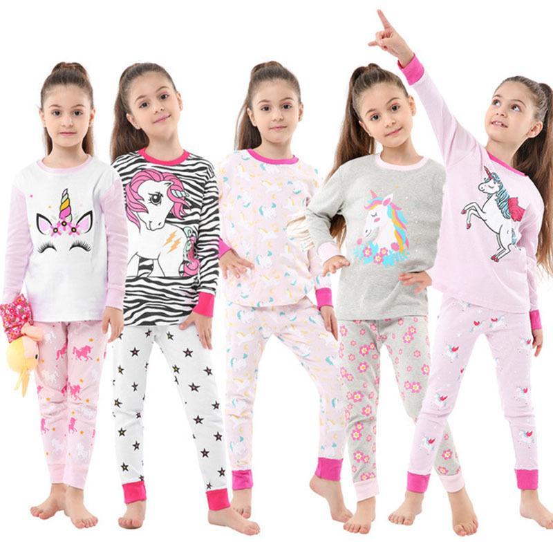 Новый Baby Unicorn Pajamas ребенк мультфильм домашняя одежда наборы с длинными рукавами брюки брюки спать Осенняя одежда для мальчика