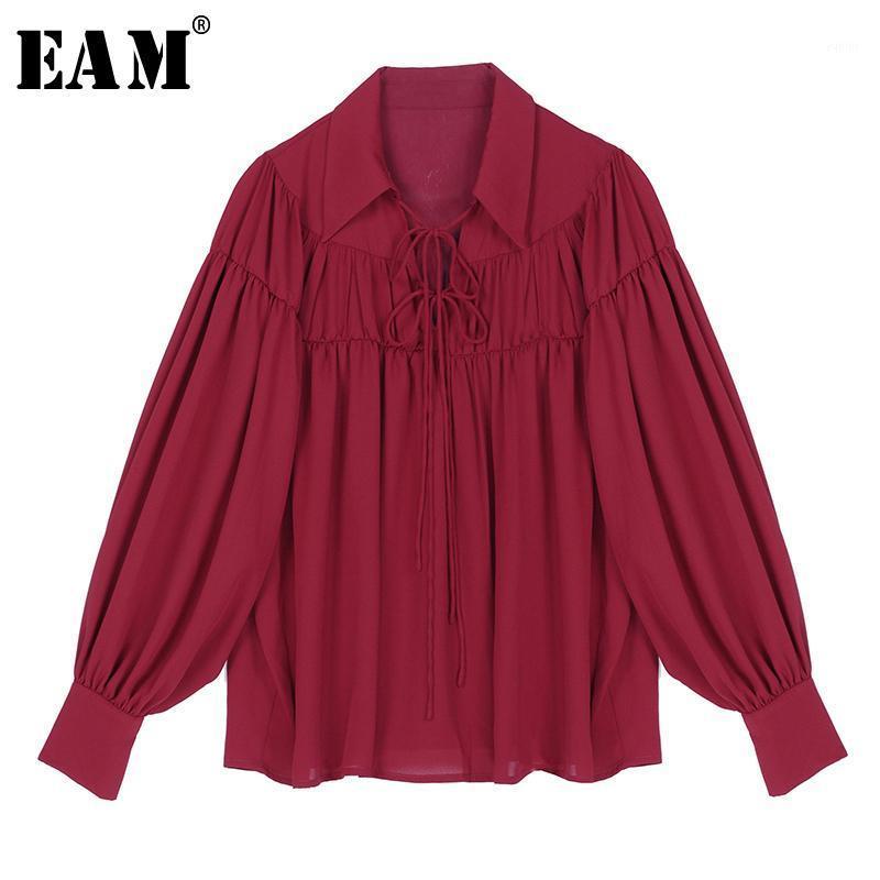 [EAM] Kadınlar Beyaz Bandaj Pileli Mizaç Bluz Yeni Yaka Uzun Kollu Gevşek Fit Gömlek Moda Gelgit İlkbahar Sonbahar 2020 1R5451