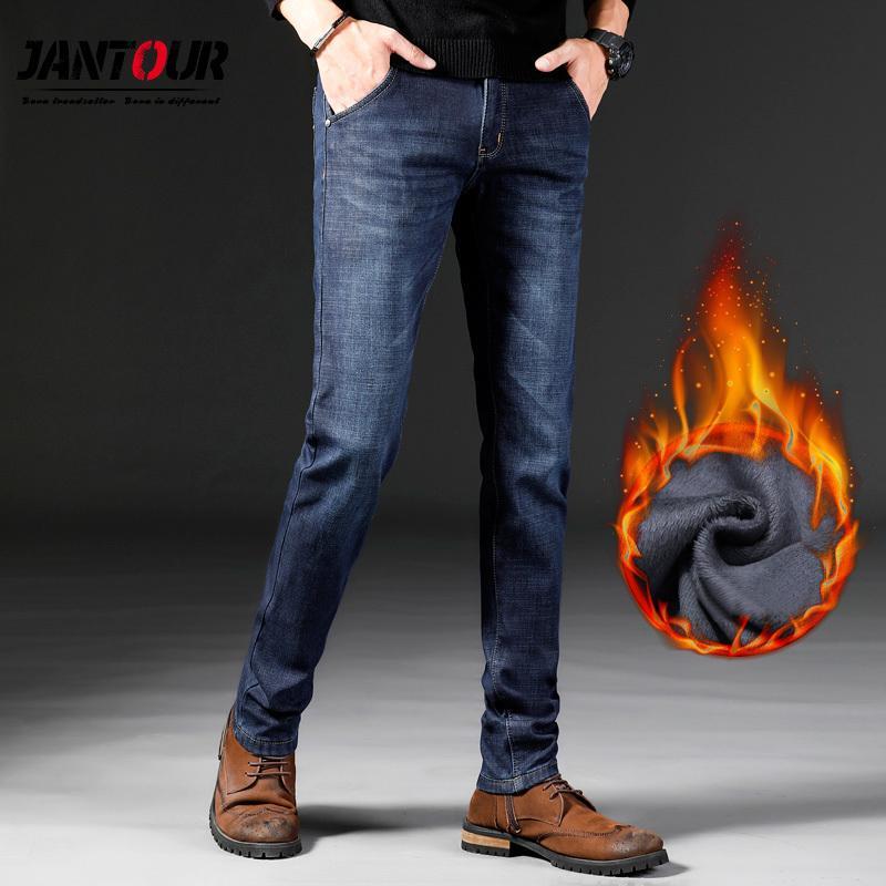 Jantour Kış Erkekler'S Jeans Kalınlaşmak Fleece Erkekler Homme Vaqueros Hombre Jean İçin Erkekler pantolon İnce Koşucular Hip Hop Pantalon C1019 Isınma
