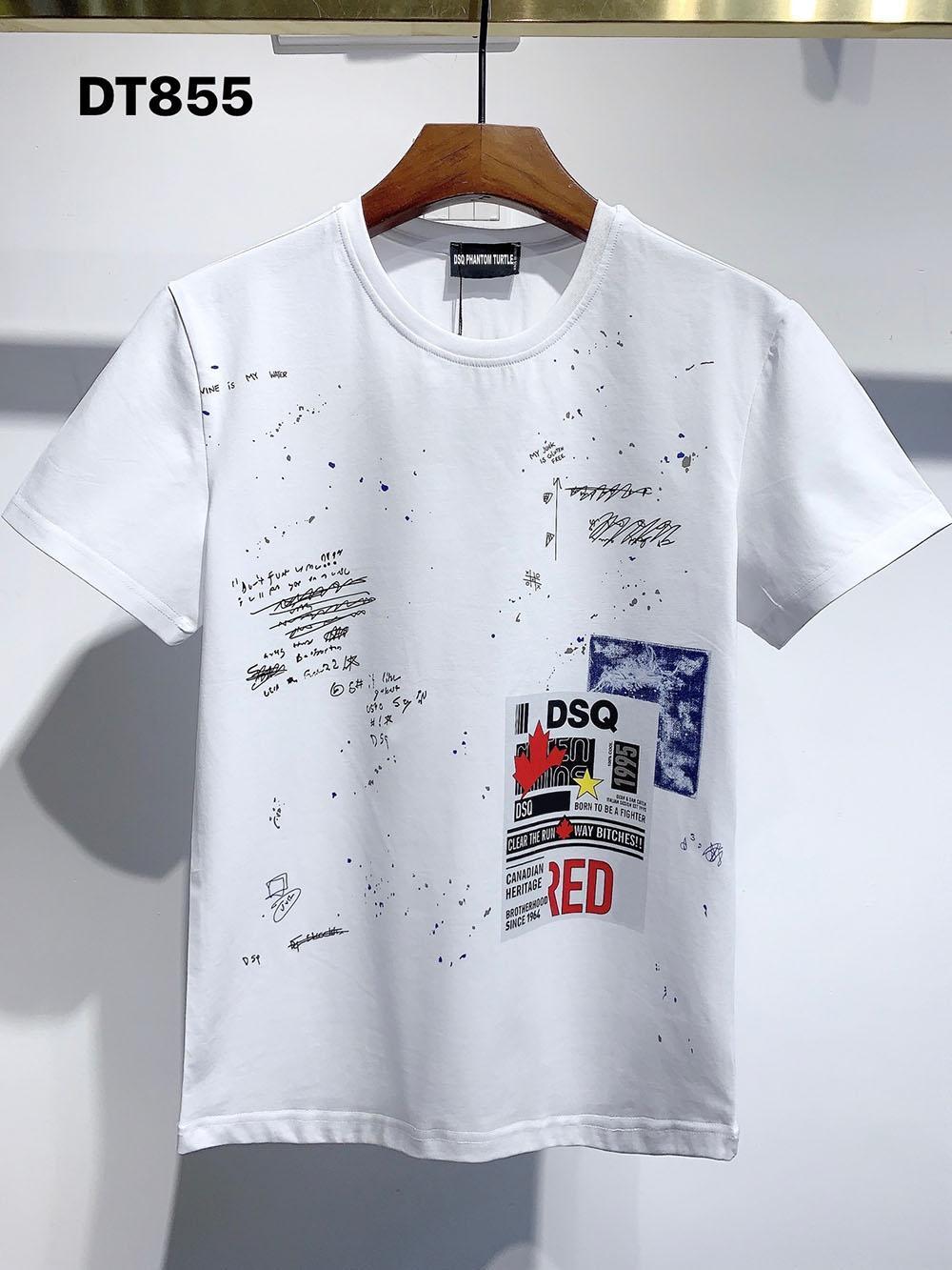 DSQ Phantom Schildkröte 2021SS Neue Mens Designer T-shirt Pariser Mode Tshirts Sommer DSQ Muster T-Shirt Männliche Top Qualität 100% Baumwolle Top 1184