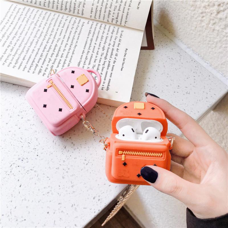 AirPods Case Designer Chain Bag AirPods 1/2case Bluetooth Headset Protective Cover Cute 3 Colors-