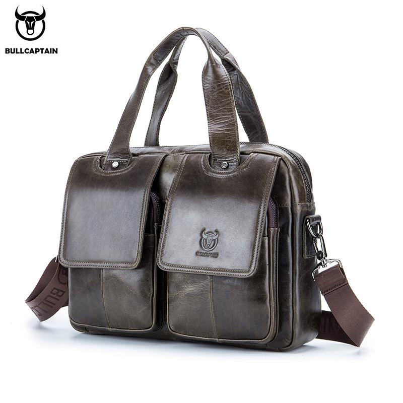 BULLCAPTAIN Briefcase Bag For Men Leather Bages Men's 14.1 Inch Laptop Office Handbag Casual Business Messenger Bag's Q0112