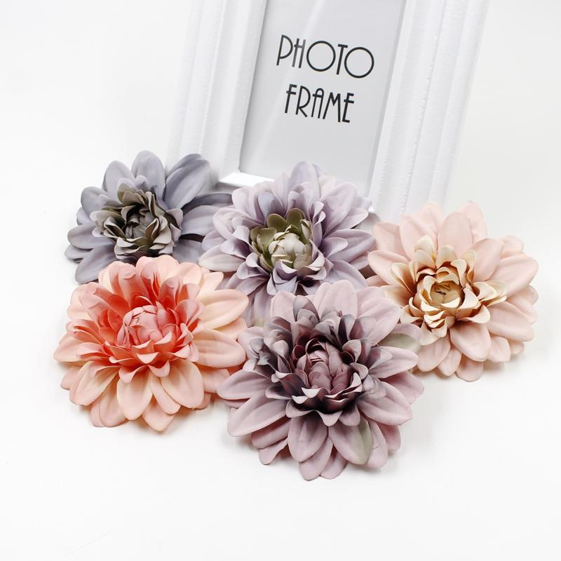 10pcs 10cm artificial chrysanthemum head For wedding Headdress decoration DIY flower wall gift box craft fake flower