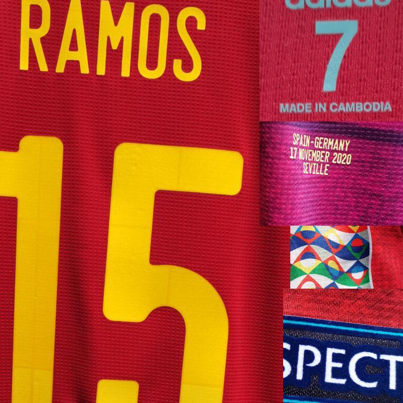 2020 Jogador desgastado problema Ramos Morata Jogador Nome Número de Futebol Patch Badge