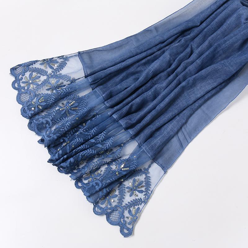 Шарфы 2021 равнины вышитые галстуки хлопчатобумажные шарф золотые блестки цветочные шали негабаритные женщины мусульманский хаджаб головной полос 10 шт. / Лот