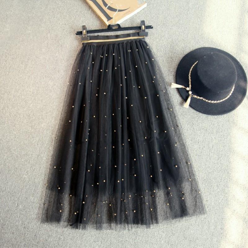 Dingzhuang net yarn gonna lunga sezione 2017 primavera ed estate un tipo era sottile gonne grandi argento oro marrone argento