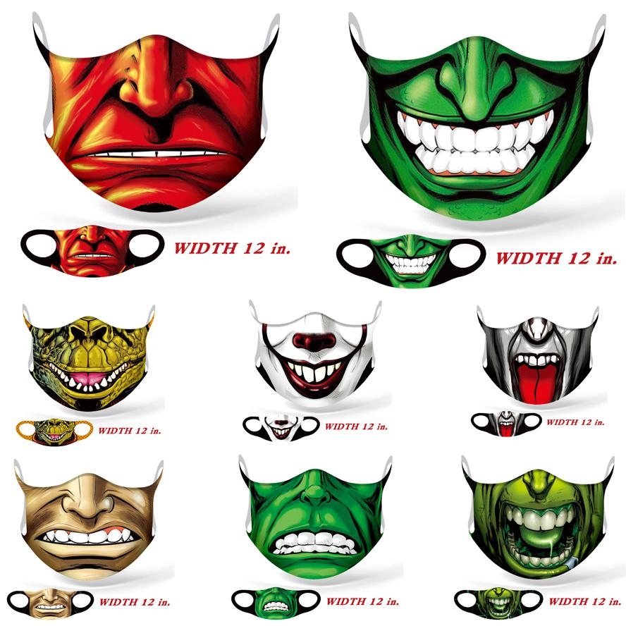 mascarillas moda cara máscara de Halloween cosplay de seda de color hielo máscara de calavera fantasma máscara de polvo payaso verde