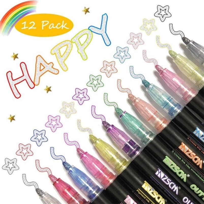 12 colores Metálico Esquema Glitter colorido DIY Álbum Scrapbooking Marker Pen para Navidad Dibujo Pintura Set de 201222