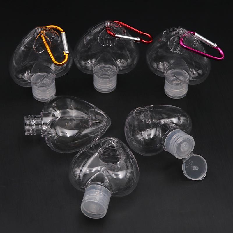 50ML الحب قلب زجاجة PETG إعادة الملء المطهر من ناحية زجاجات العطور الفارغة مع حلقة رئيسية هوك 1 G2 6LY