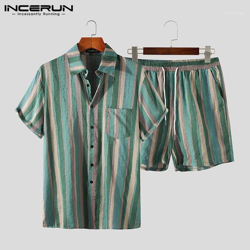 Mens Striped Sets Incerun Vintage Impresso Ternos de Manga Curta Camisas de Lapela Drawstring Calções Conjuntos Homem Hawaiian Beach Suites S-3XL1