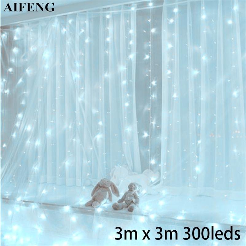 Aifeng levou a luz da cortina 3mx3m 300leds guirlanda USB alimentado luz de fadas de prata de prata de cobre xmas cortina de natal decoração de festa de casamento 20127