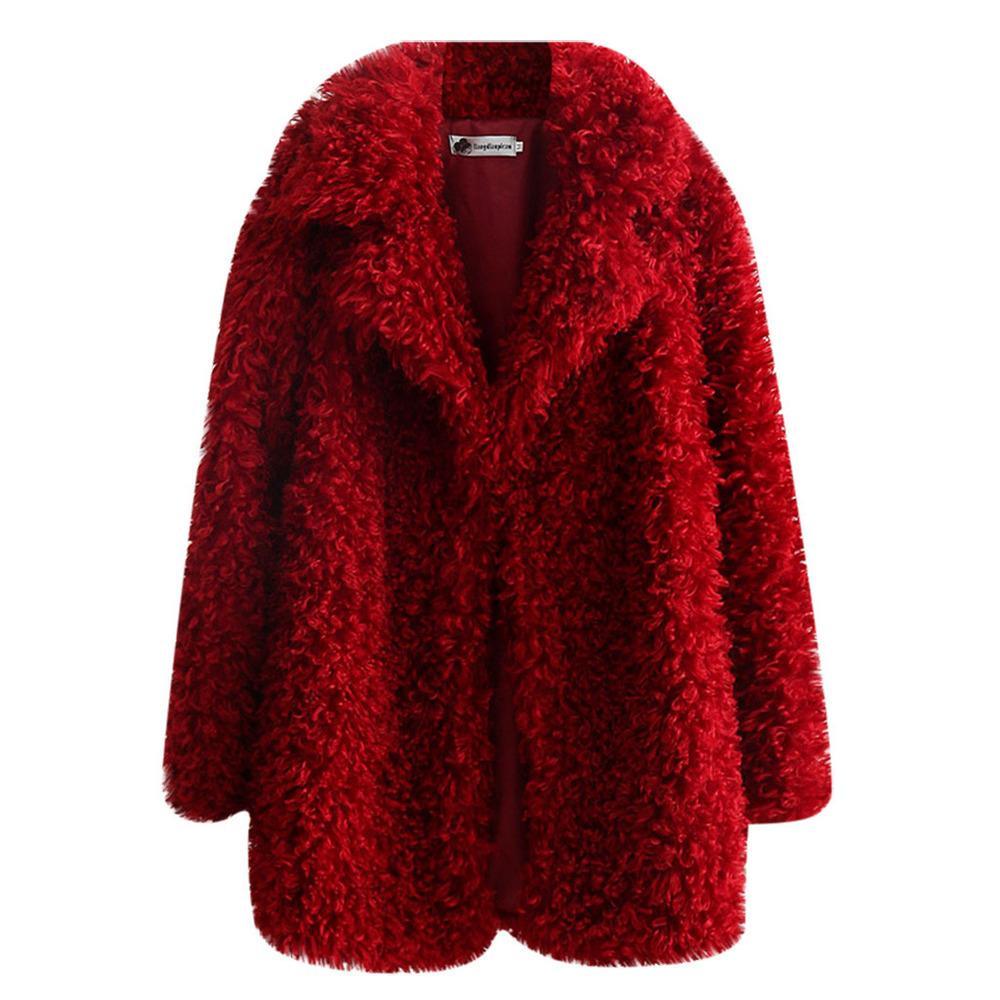 Mulheres Faux Teddy Bear Feminino Fake Fur Brasão Notch lapelas Oversized Inverno Plush Jacket Big Size # g30 NG3K