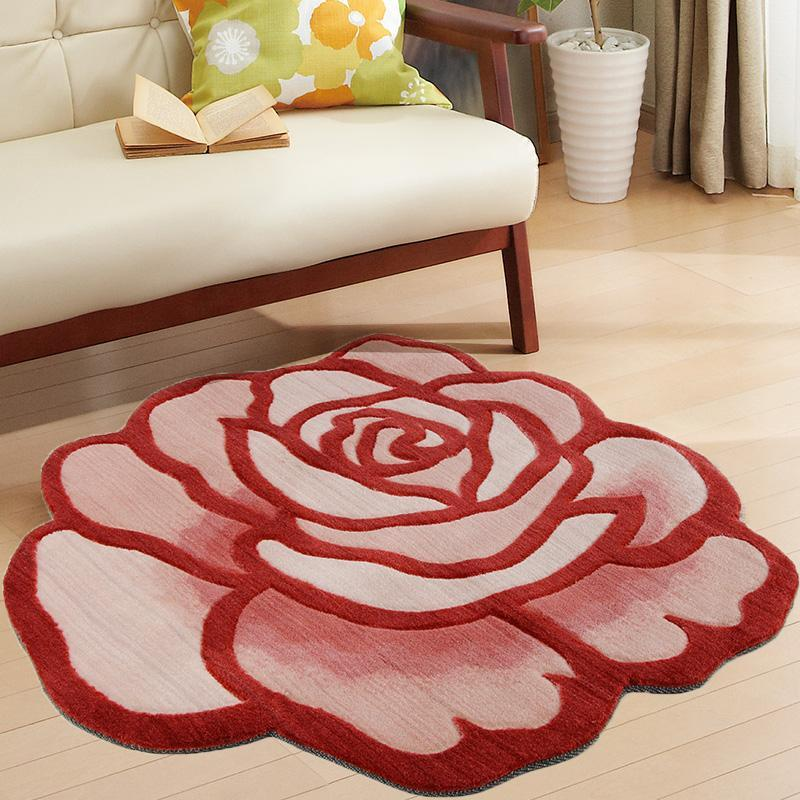 Fashion Pastoral style Handmade Embroidery 3D Rose Carpet Floral Non-Slip Mat Abstract Roses Shape Rug carpets for living room