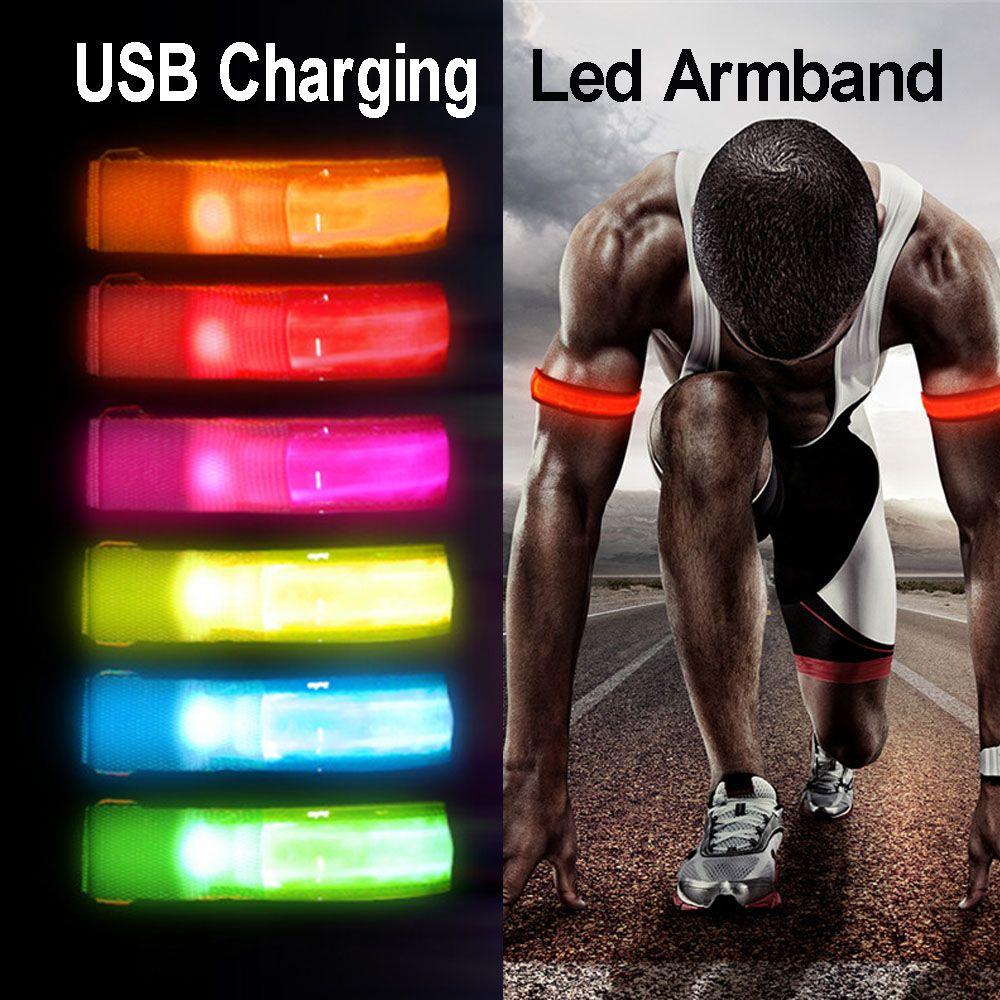 USB de carregamento à noite correndo Led Armband Ciclismo Jogging Arm Alça de Segurança Bike Light Reflective Correia Pulseira Warning